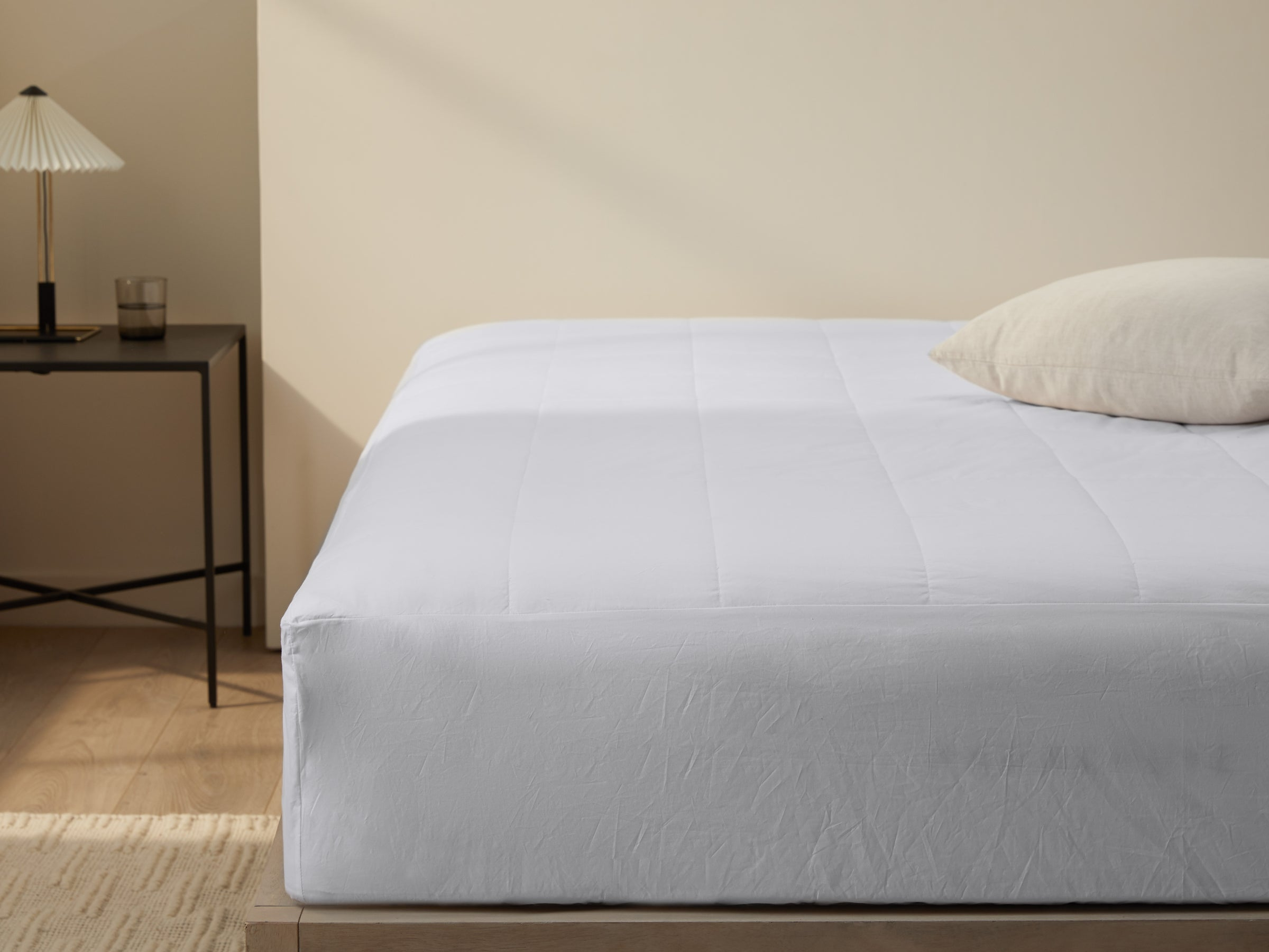 Cotton Mattress Protector Shown In A Room