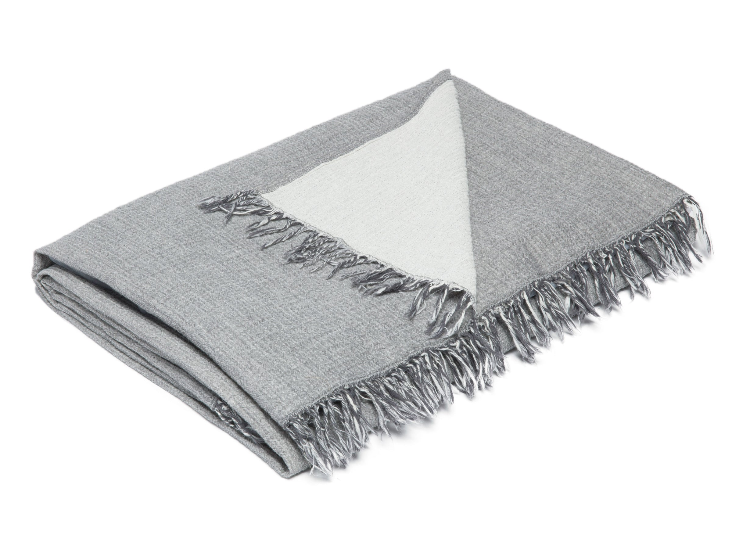 Cotton throw in light grey