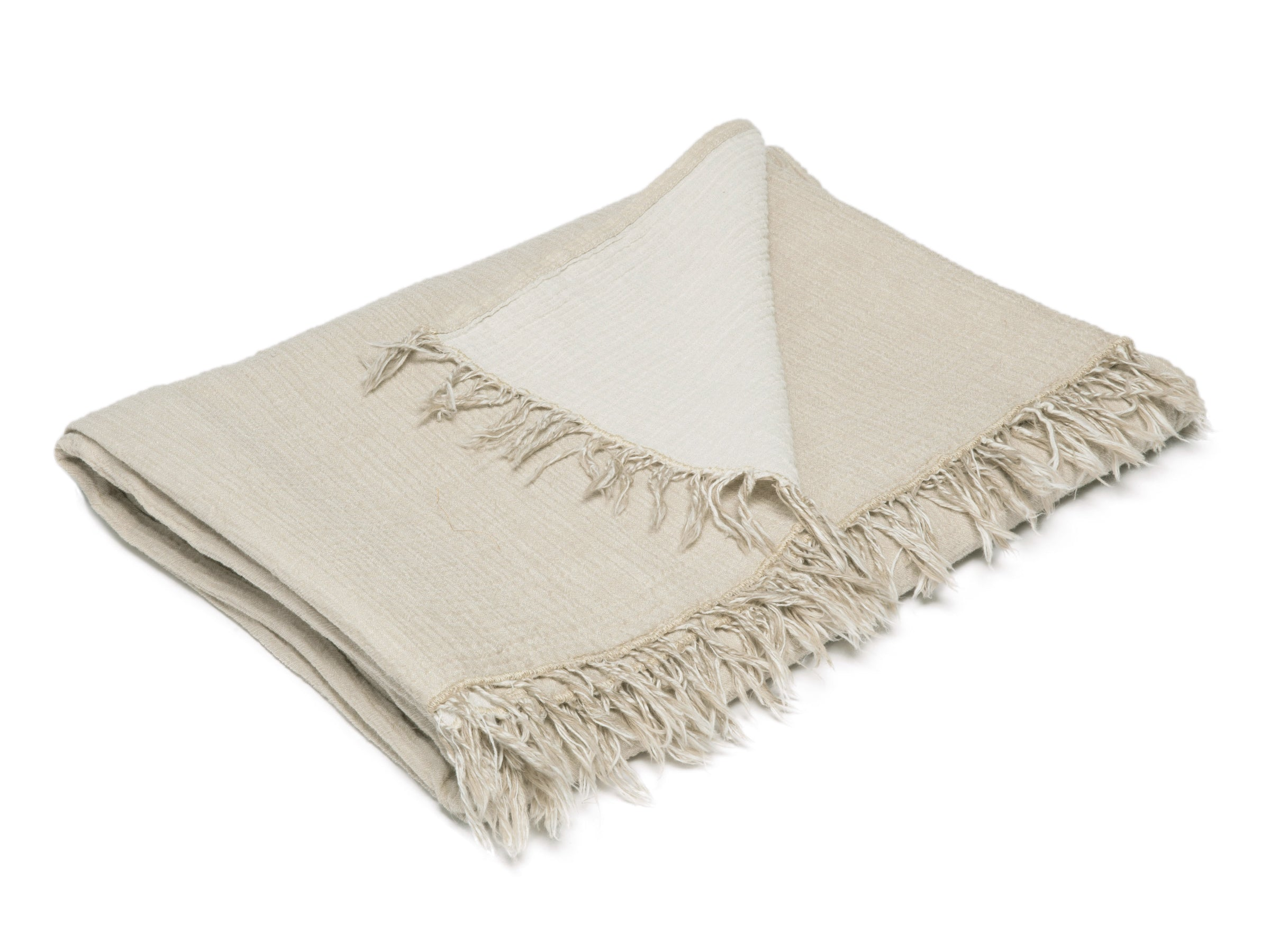 Cotton throw in natural tan