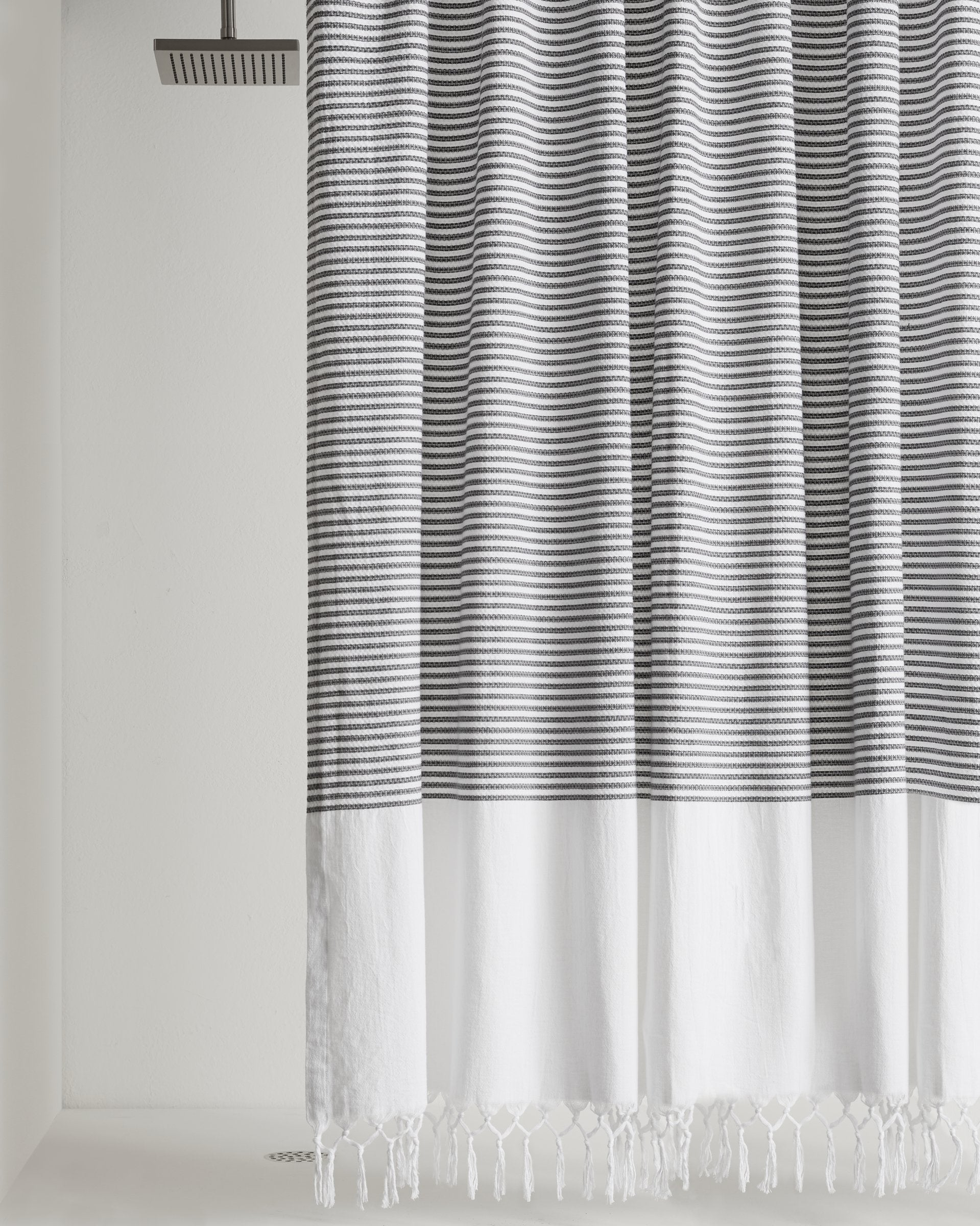 Leona Grey White Sheer Fabric Shower Curtain Floral Scroll Damask
