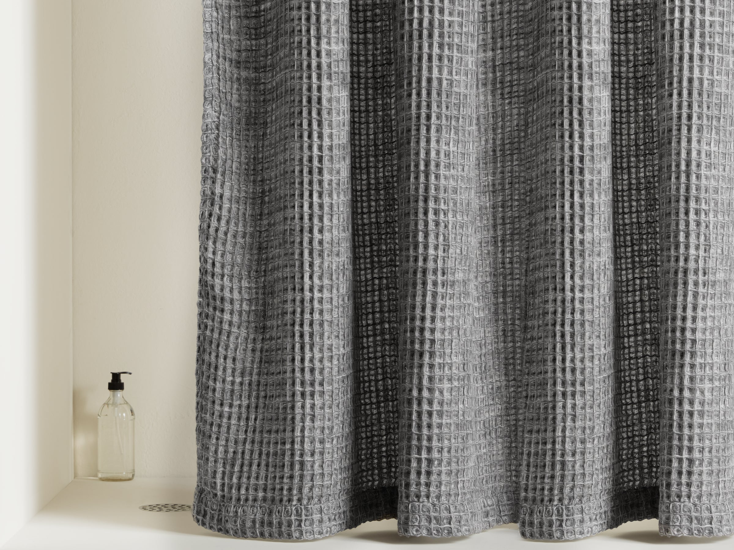 Waffle Shower Curtain Shown In A Room