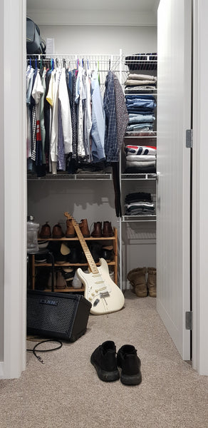 wardrobe closet with guitar and sustainable fashion