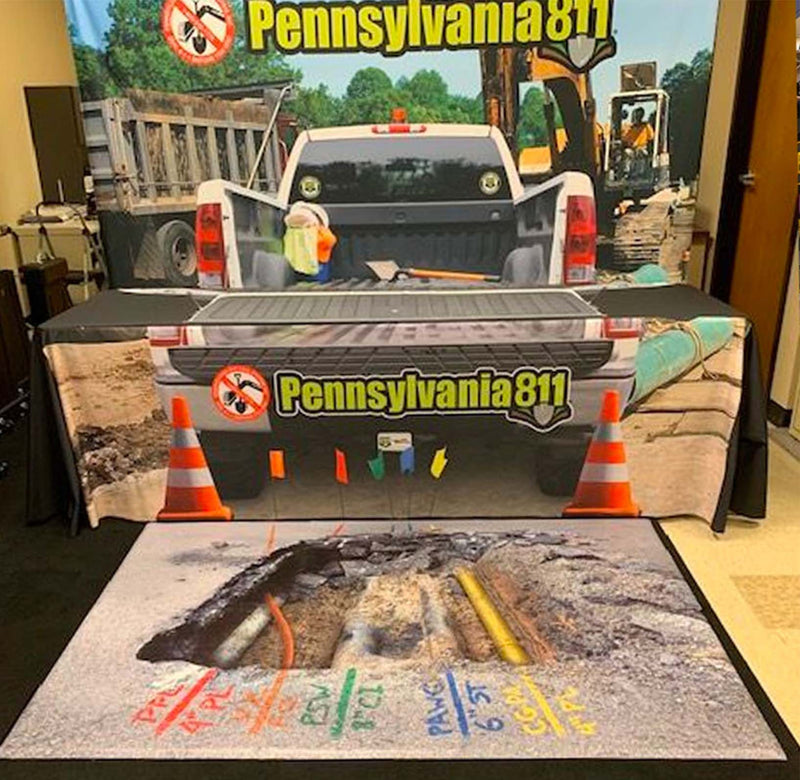 Printed Custom Graphics Rollable Vinyl Flooring Pennsylvania 811 Trade Show Booth