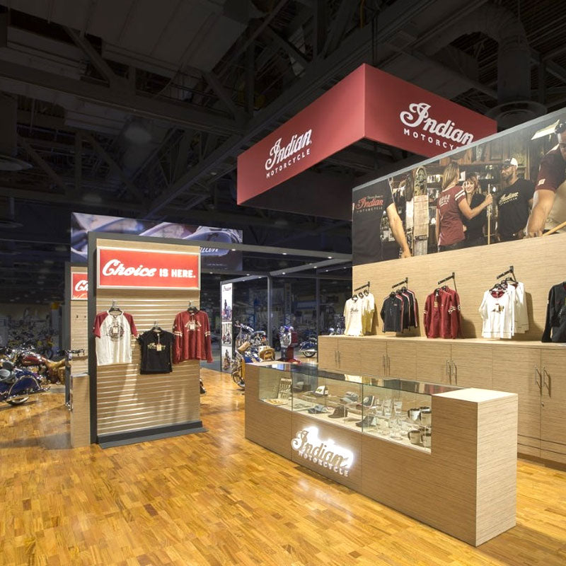 Sierra Hardwood Collection Indian Motorcycle Tradeshow Floor