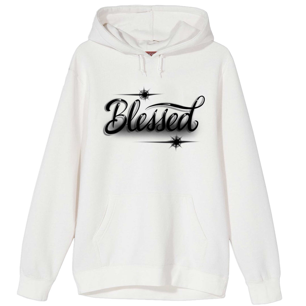 Blessed Script Airbrush Hoodie White