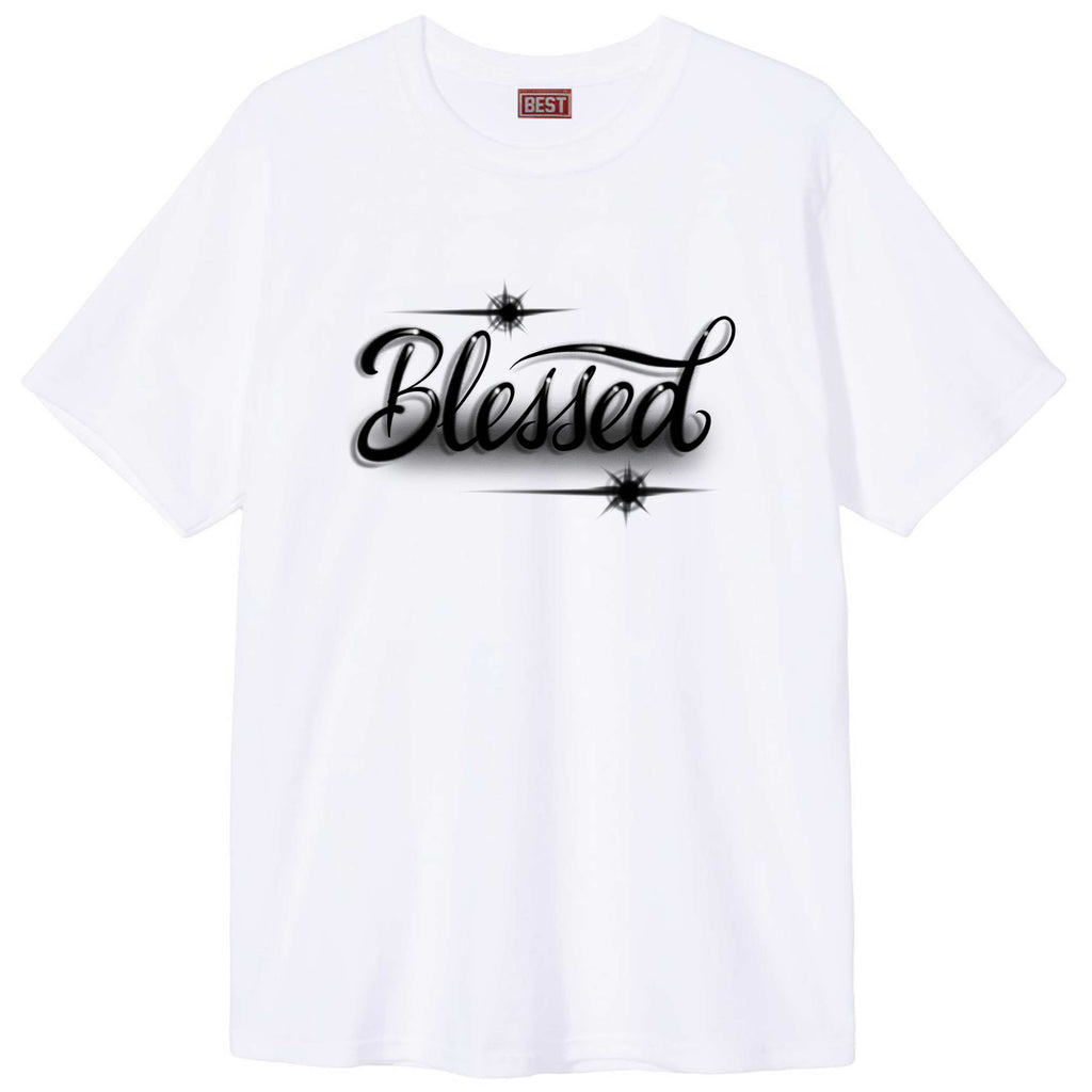 Blessed Script Airbrush White Tee