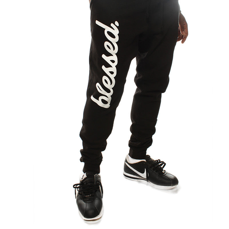 Cursive Blessed Black Joggers