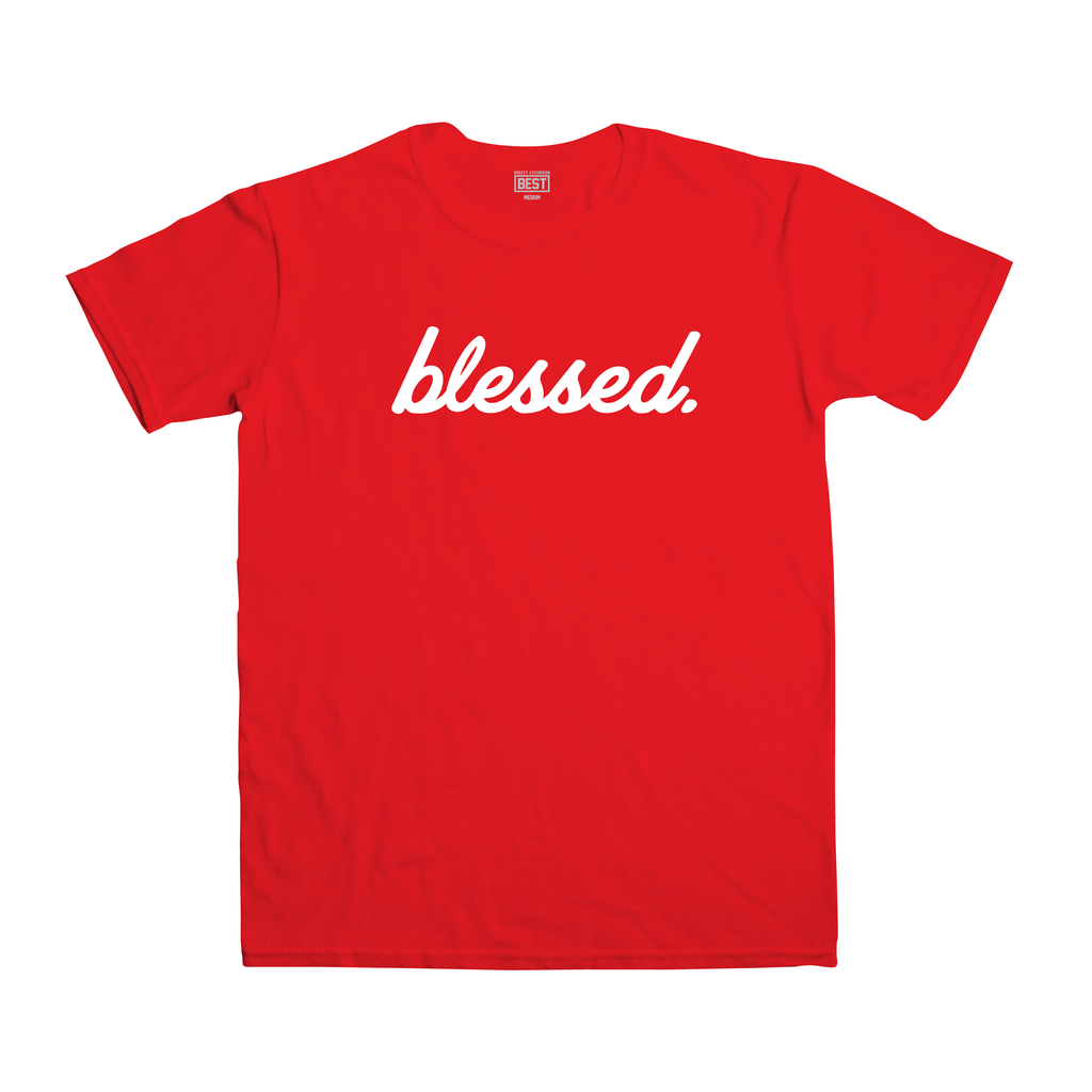 Cursive Blessed Red Tee