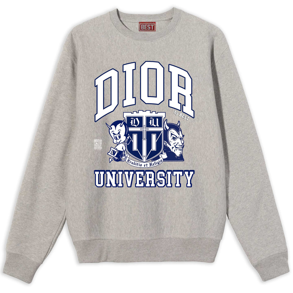 DIOR BLUE DEVILS UNIVERSITY BEST BOOTLEG CREWNECK SWEATER ATHLETIC GRAY