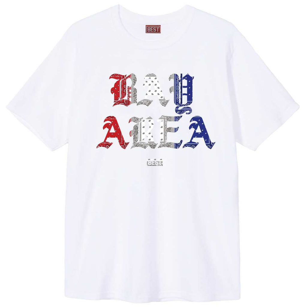 Red White and Blue Rag Bay Area Tee White