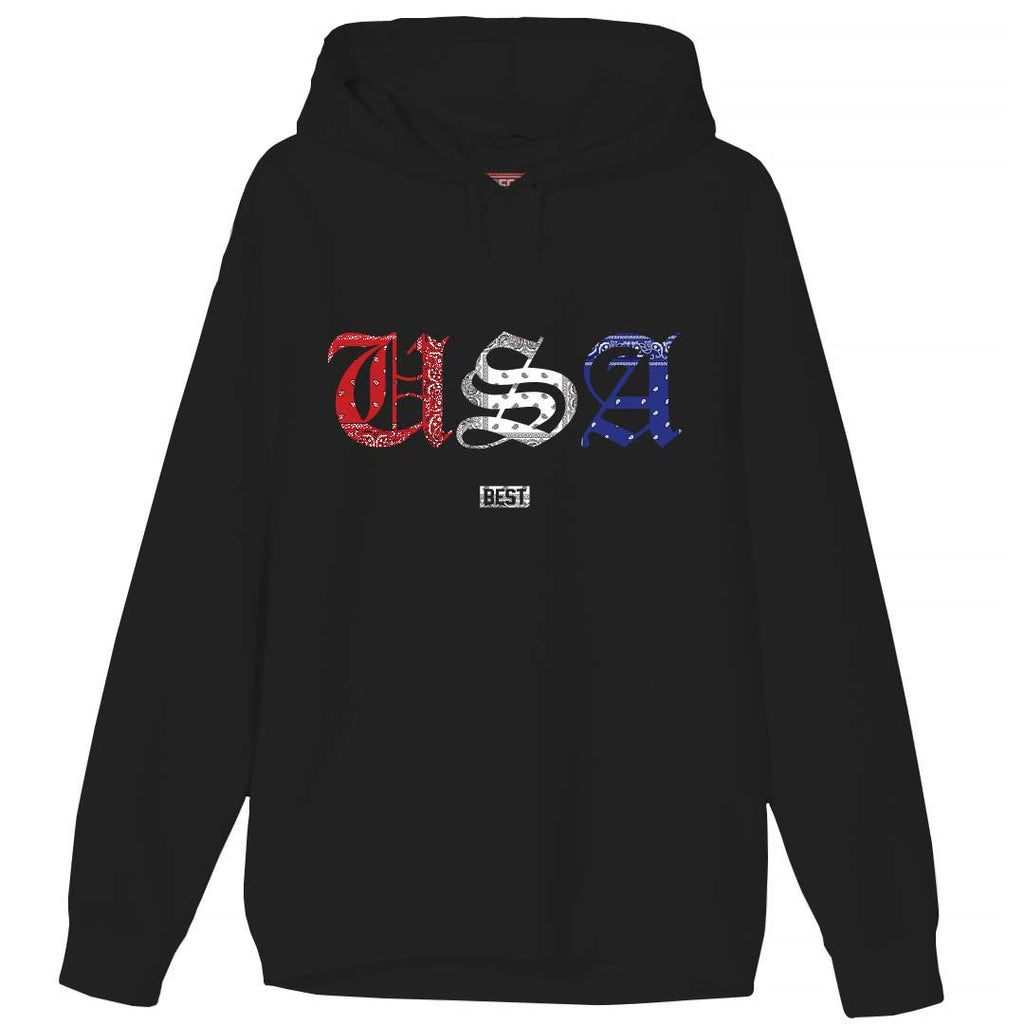 Red White and Blue Rag USA Hoodie Black
