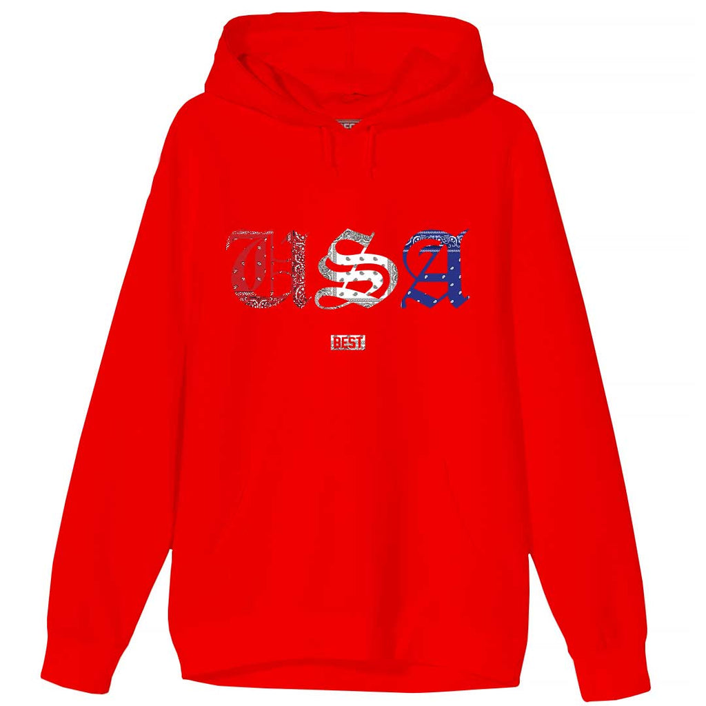 Red White and Blue Rag USA Hoodie Red