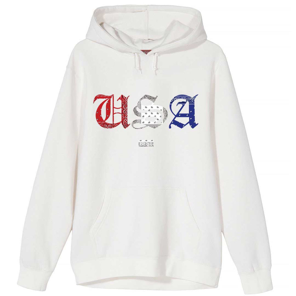 Red White and Blue Rag USA Hoodie White