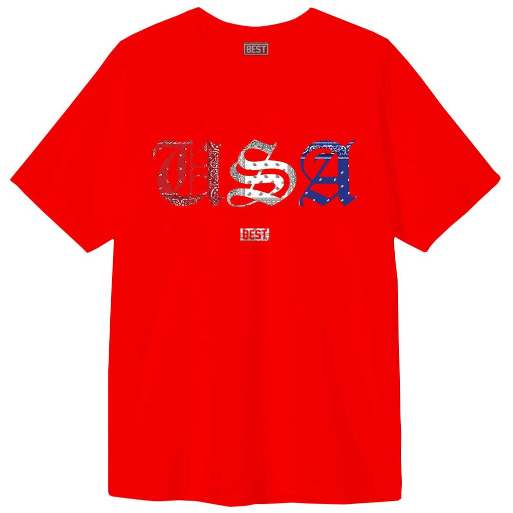 Red White and Blue Rag USA Tee Red