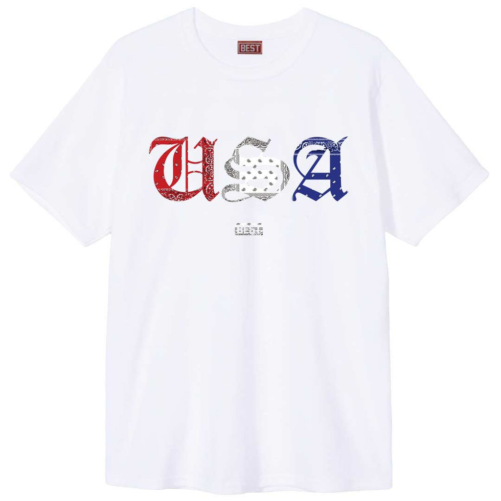 Red White and Blue Rag USA Tee White