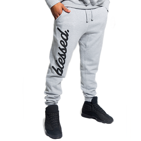 Cursive Blessed Grey Joggers