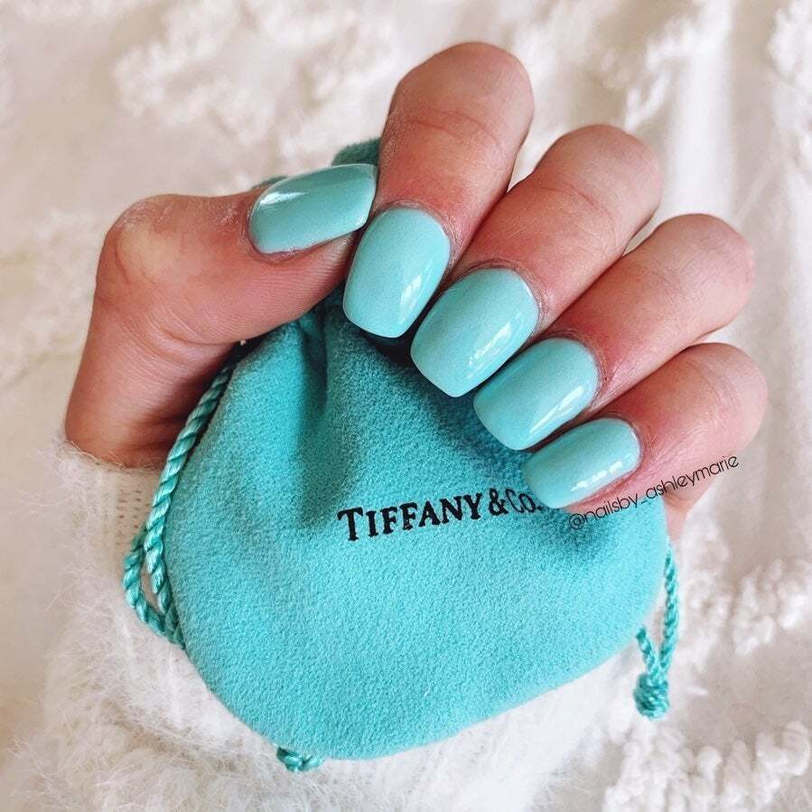 Manicure Photo of D548 Tiff, Bright Blue Dip Powder- Revel Nail