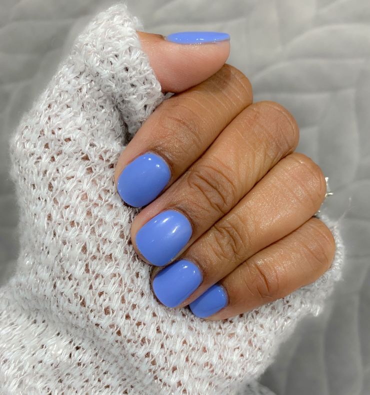 Photo of manicure D310 Agave, Light blue dip powder- Revel Nail