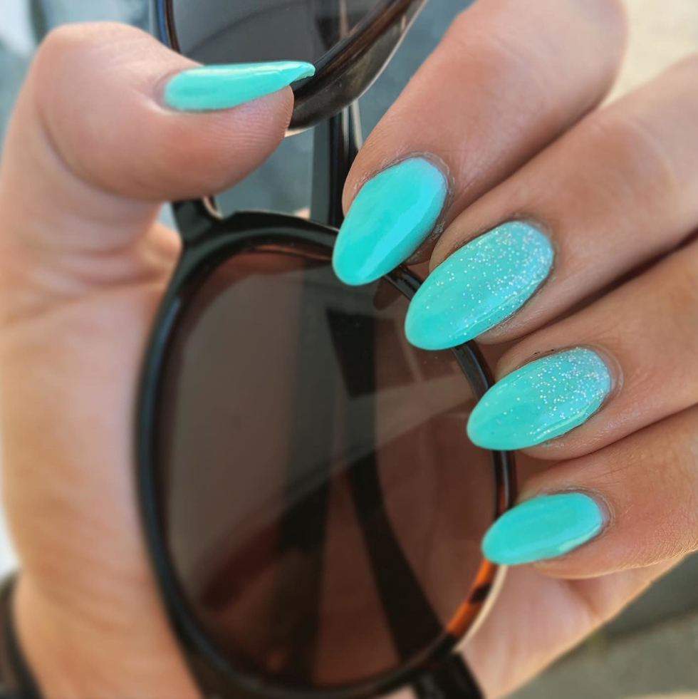 Image of manicure with D411 Namaste, Bright Teal Blue Dip Powder- Revel Nail