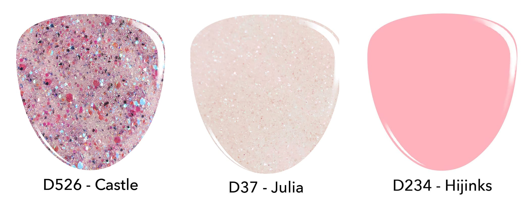 Swatches of purple pink glitter dip powder, sheer pink dip powder and baby pink dip powder.