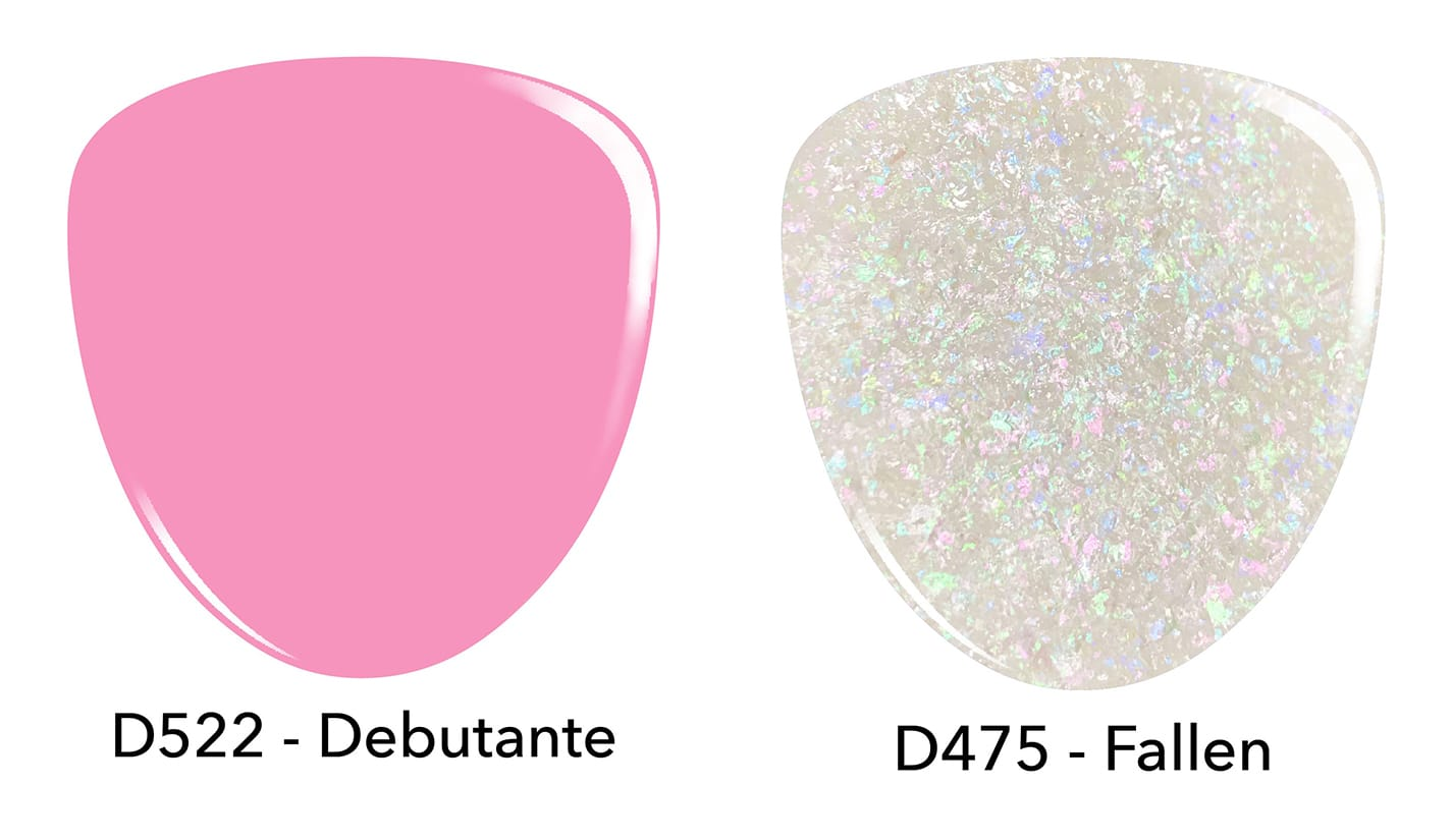 Pink dip powder D522 Debutante, and white dip powder D475 Fallen