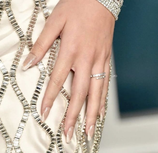 Haliee Steinfeld french manicure, revel nail dip powder