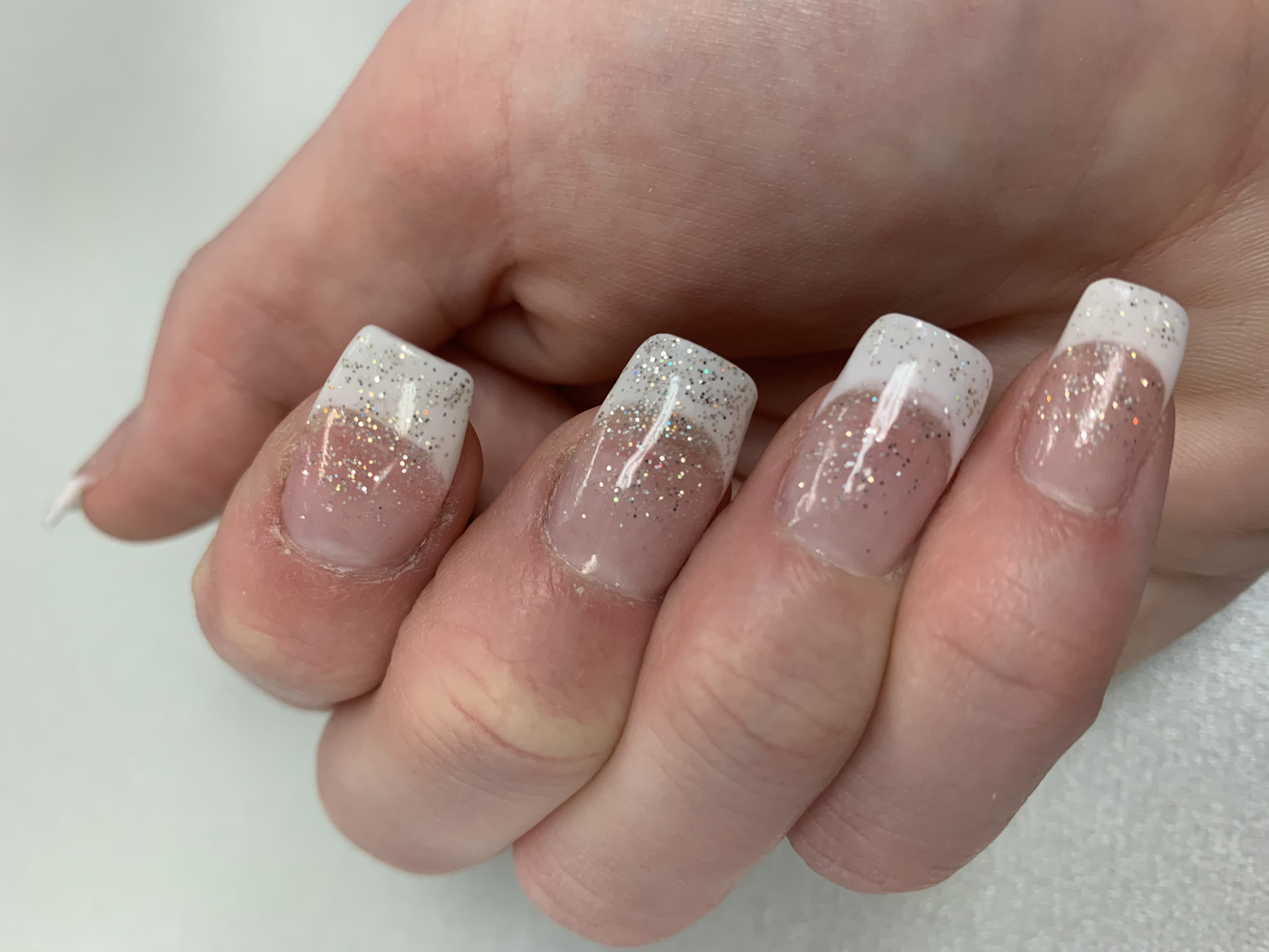 French manicure photo with dip powder, revel nail
