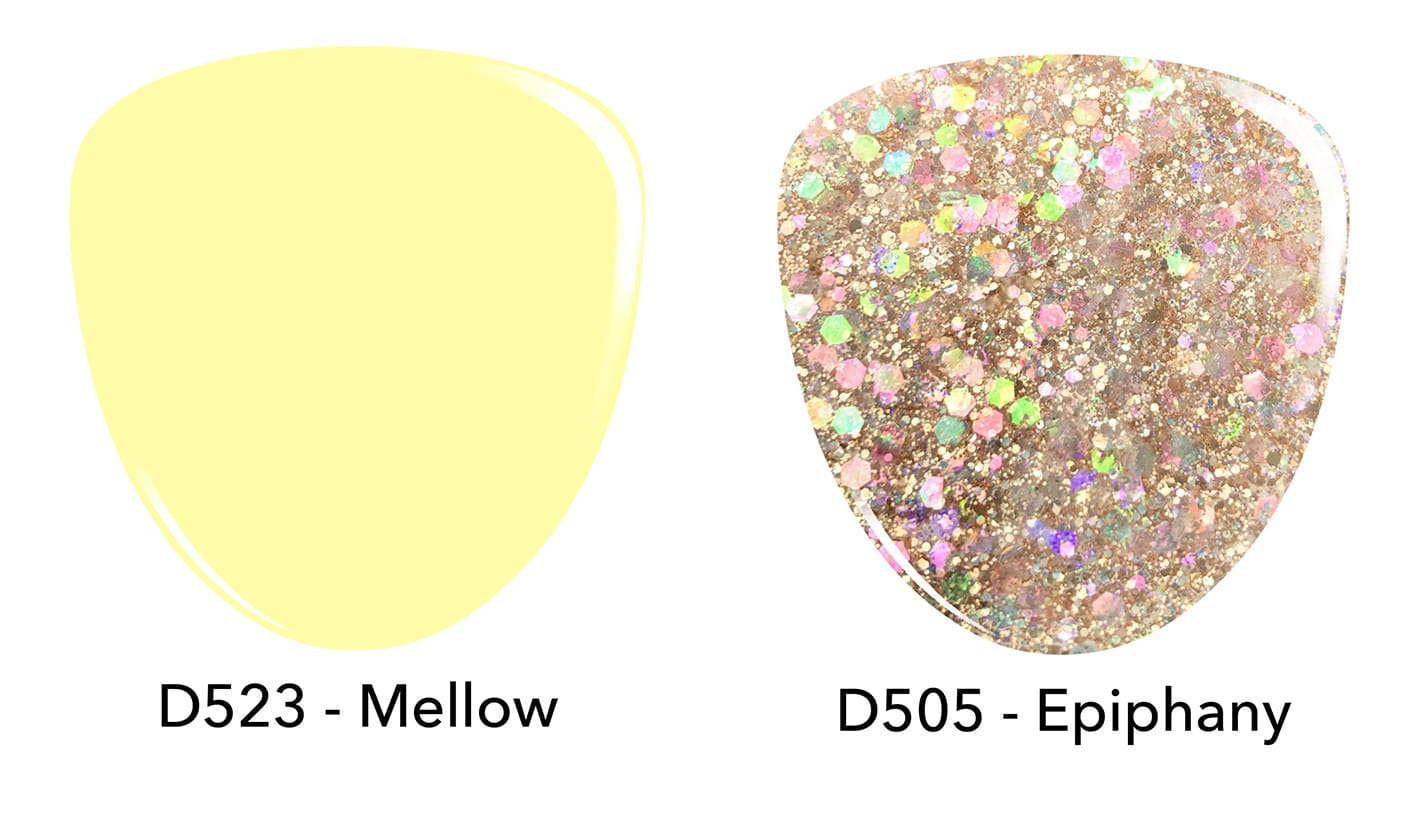 Pastel yellow dip powder D523 Mellow. Chunky gold glitter dip powder D505 Epiphany