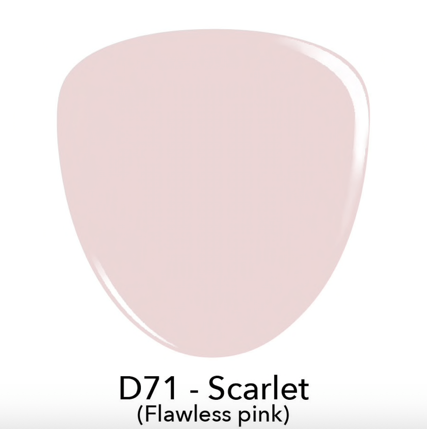 Swatch of D71 Scarlett Flawless Pink, french tips with dip powder, revel nail