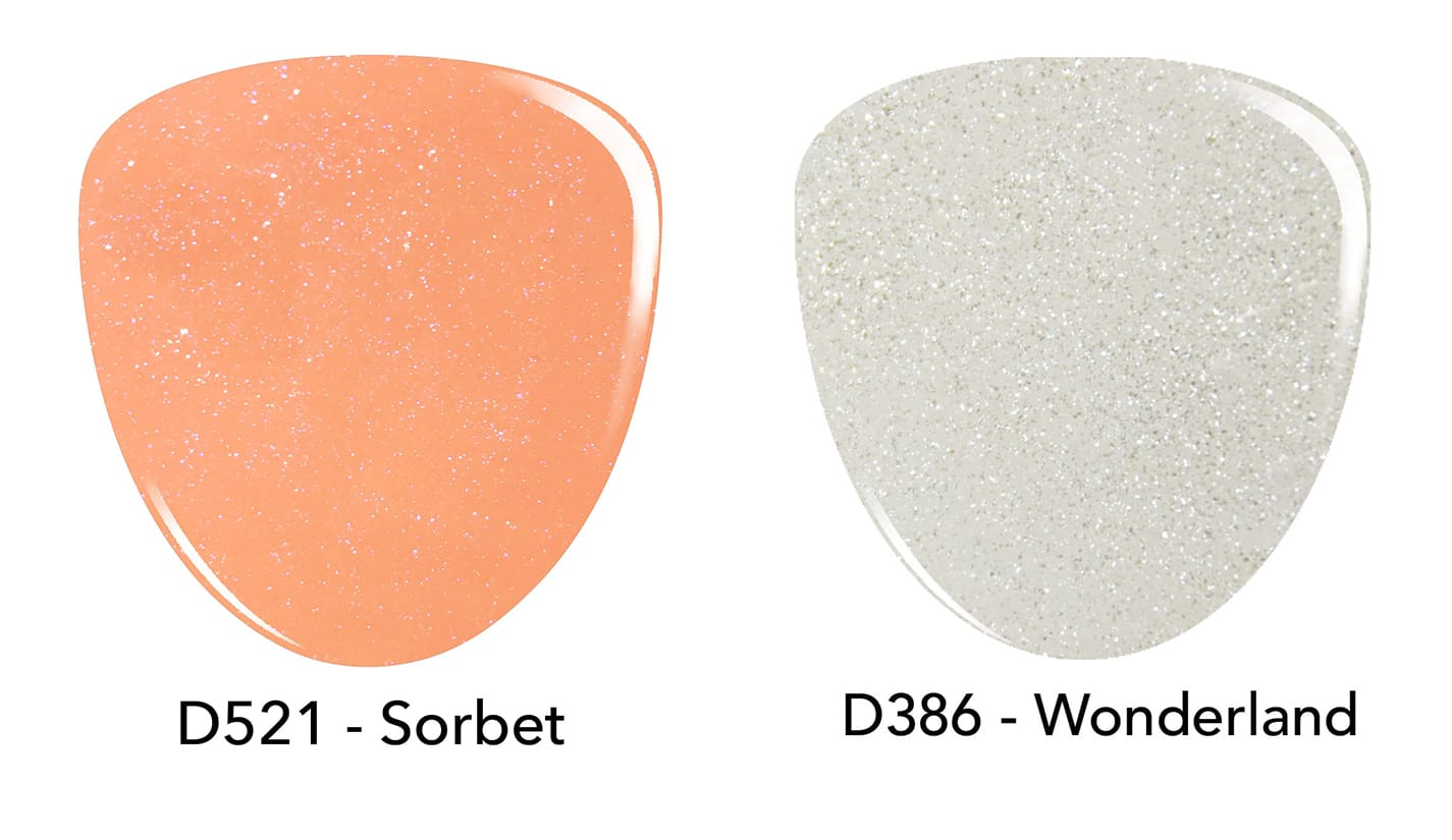 Orange dip powder, D521 Sorbet. White dip powder D386 Wonderland