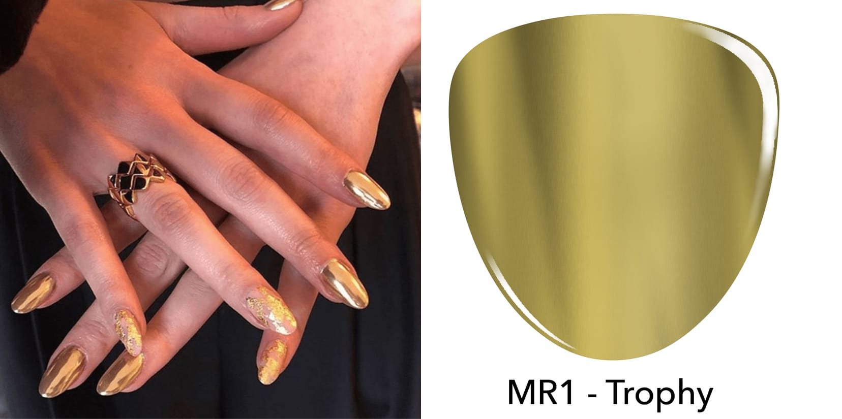 Photo of Hailee Steinfeld nails, gold chrome dip powder nails, revel nail dip powder