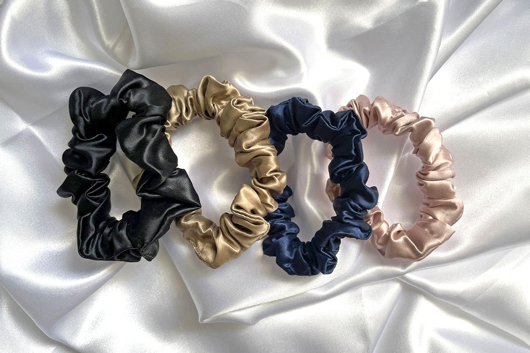 Silk Midi Scrunchies- Set of 4