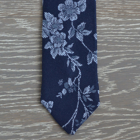 Two-tone Floral Cotton Tie