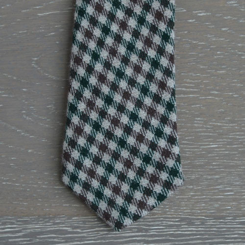 Beige, Burgundy and Forest Green Gingham Wool Tie