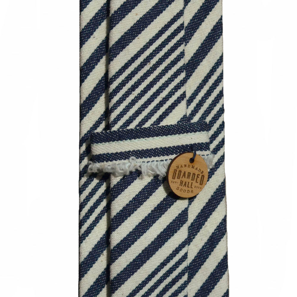 Navy and Cream Denim Stripe Tie