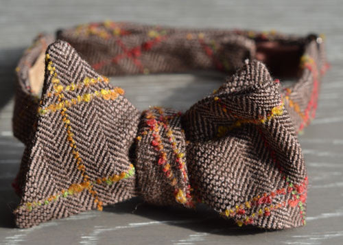 Brown Herringbone Tweed Wool Bow Tie