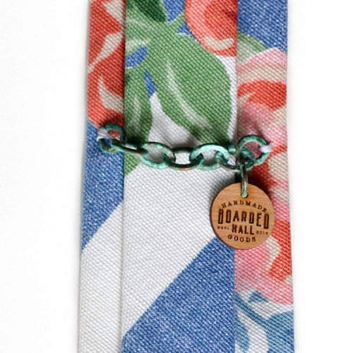 Striped Floral Denim Tie