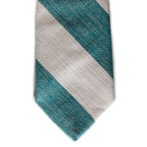 Evergreen and Cream Denim Tie