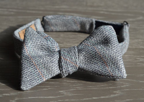 Grey, Navy Blue, & Cream Wool Bow Tie with Aqua and Burnt Orange stripes