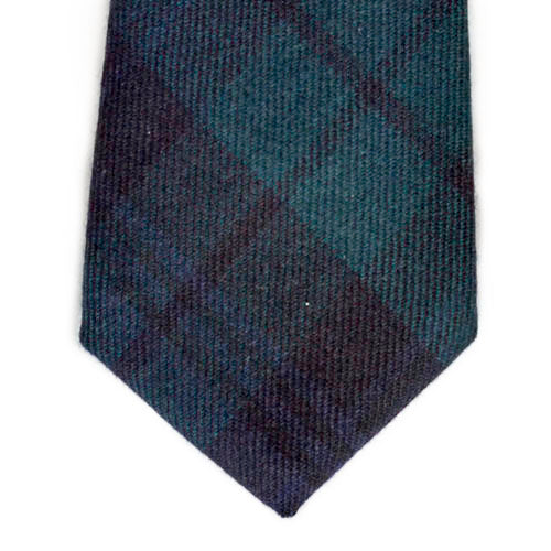 Forest Green and Navy Blue Tartan Wool and Denim Tie