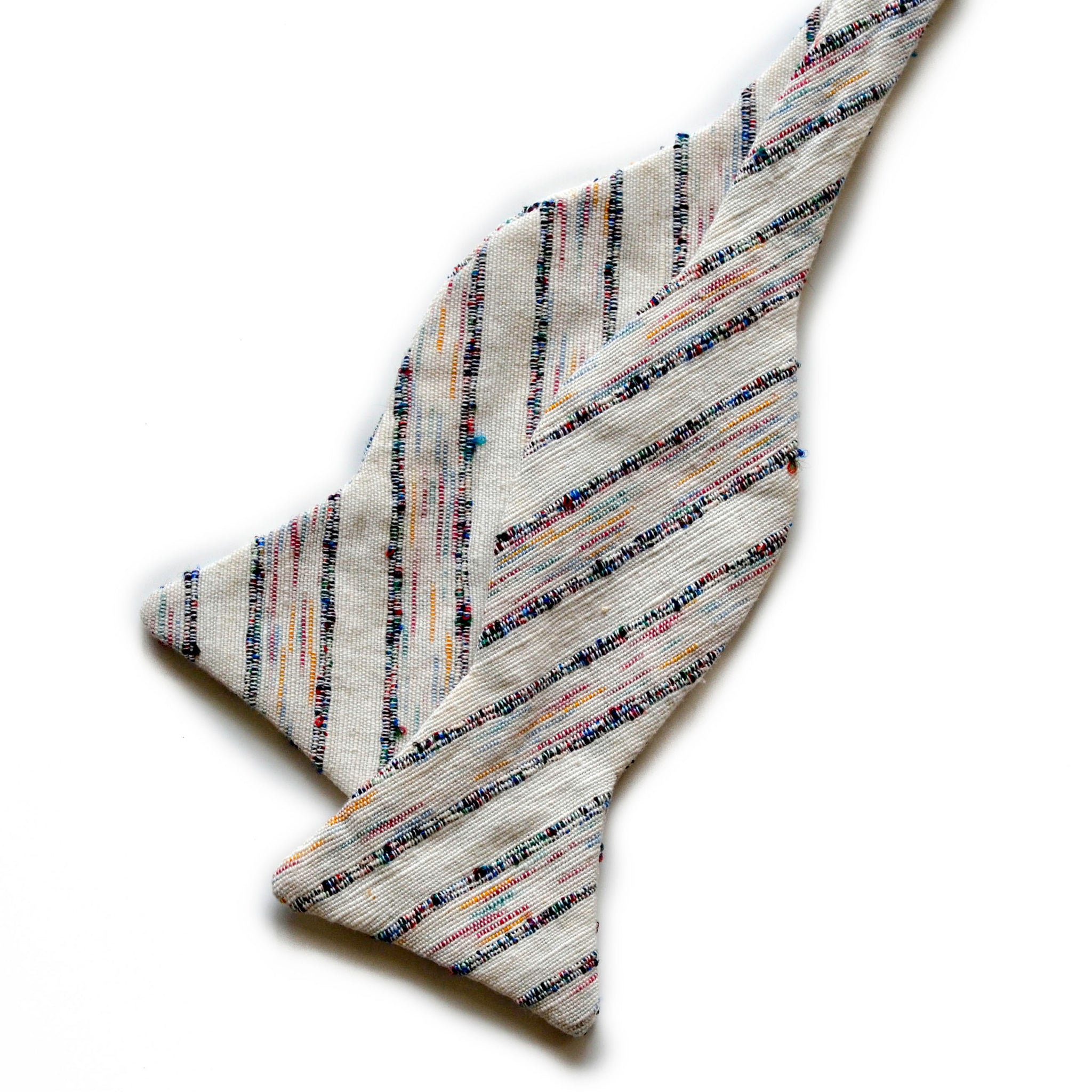 Cream Multicoloured Striped Cotton Bow Tie