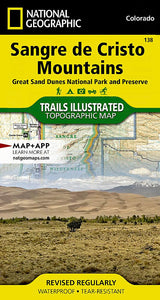138 :: Sangre de Cristo Mountains [Great Sand Dunes National Park and Preserve] Map Trails Illustrated Maps EVMAPLINK