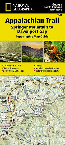 1501 :: Appalachian Trail Springer Mountain to Davenport Gap [Georgia North Carolina Tennessee] Map Map Guides EVMAPLINK