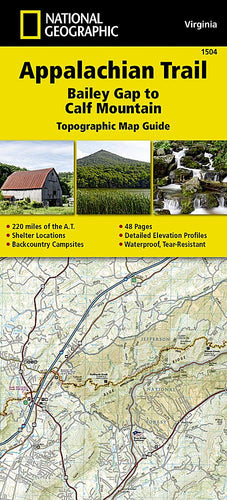 1504 :: Appalachian Trail Bailey Gap to Calf Mountain [Virginia] Map Map Guides EVMAPLINK
