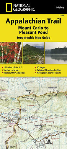 1512 :: Appalachian Trail Mount Carlo to Pleasant Pond [Maine] Map Map Guides Map-N-Hike