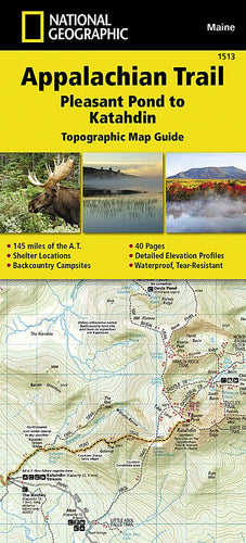 1513 :: Appalachian Trail Pleasant Pond to Katahdin [Maine] Map Map Guides Map-N-Hike