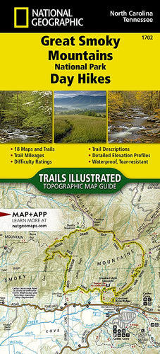 1702 :: Great Smoky Mountains National Park Day Hikes Map Map Guides EVMAPLINK