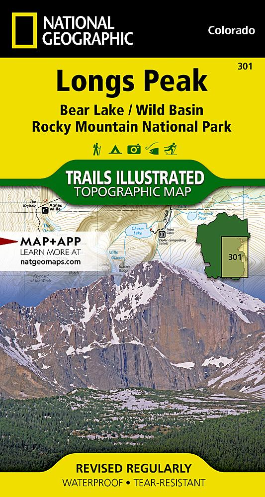 301 :: Longs Peak: Rocky Mountain National Park [Bear Lake Wild Basin] Map Trails Illustrated Maps EVMAPLINK
