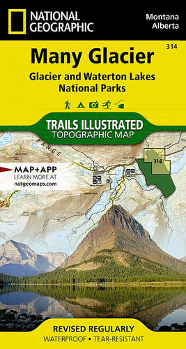 314 :: Many Glacier: Glacier and Waterton Lakes National Parks Map Trails Illustrated Maps EVMAPLINK