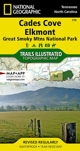316 :: Cades Cove Elkmont: Great Smoky Mountains National Park Map Trails Illustrated Maps EVMAPLINK
